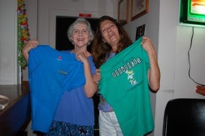 These ladies show off the Boondocks T-shirts they won during an impromptu dance contest.