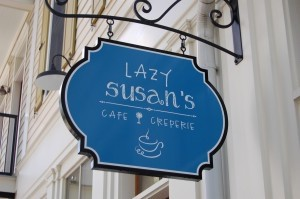 The sign for Lazy Susan's, located in Habersham Marketplace.