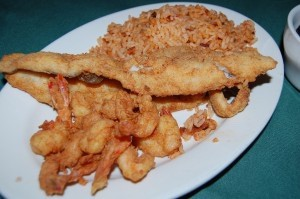 Shrimp and fish special with red rice.