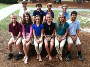 Ten Beaufort Academy seventh graders were named as Duke TIP Scholars. Scholars qualify by scoring at or above the 95th percentile on selected sections of designated standardized tests administered during the 6th or 5th grades. Pictured above, left to right, front row: Joseph Maraska, Lauren Bartlett, Maris Staley, Cady Wilson, Eliza Nix, John Dastous. Back row: William Tumlin, Cal Harvey, Nathaniel Keenan, Brian Rhatigan.