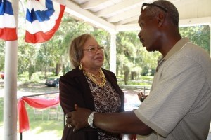 Joyce Dickerson greets voters at last week's Democratic event.