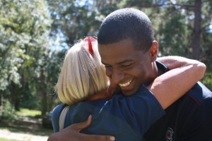 Bakari Sellers gets a hug from a Beaufort County Democratic supporter.