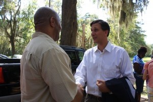 Candidate Vincent Sheheen takes the  time to talk to voters one on one.