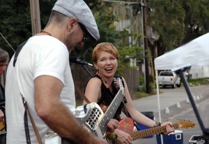 Guitarists Peter Karp, left, and Sue Foley pumped out the blues.