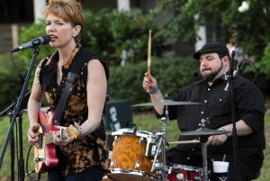 Sue Foley, left, plays her Telecaster guitar while drummer Michael Catapano keeps the beat last Saturday night.