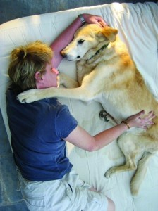 Tracie Korol performs Reiki on one of her patients.