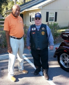 On Friday, October 24, Bikers Against Bullies, SC was hosted by Marine Federal Credit Union at the Beaufort branch on Parris Island Gateway and had a bike show to bring awareness to anti-bullying. Trophies were handed out in five different categories. Mr. James Gish, right, won the 3 plus wheels award, and is seen with Port Royal Mayor Samuel Murray who stopped by to lend support.