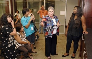 Jane Upshaw, center, Chancellor of USCB, introduces Candice Glover, right, to some of her staff and other local dignitaries before Candice performed last week.