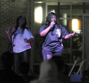 Beaufort's own Candice Glover, right, performs on stage during USCB's homecoming festivities last Saturday at the Bluffton campus.
