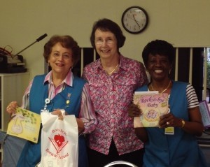 Former Born to Read Director Chris Taggart (center) with two of the original  volunteers she recruited at Beaufort Memorial, Corinne Hagood and Ginger Bolden.