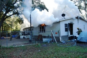 The fire was extinguished in less than 30 minutes but the home suffered heavy damage.