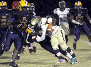 Whale Branch Warrior defense was too much to handle for the Battery Creek Dolphins last Friday at Whale Branch. Photos by Bob Sofaly.