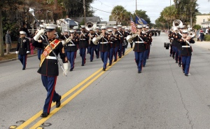 It wouldn't be a parade in Beaufort without the Parris Island Marine Corps Band leading the way down Boundary Street on Tuesday, November 11, Veterans Day.