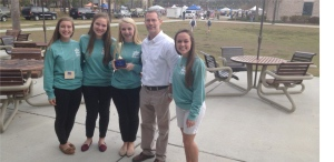 Pictured from left to right are Isabel Kimbrell, McKenzie Wunder, Rosa Bruns, teacher Senor Allorto, and Hannah Lawson.