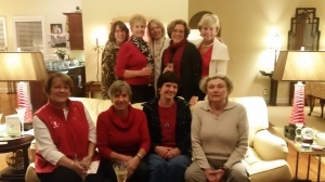 """On December 10, the 'Leg Party Book Club' was honored when Catherine Campbell, a charter member, attended our annual Christmas get-together at the home of Roxanne Cheney.  Catherine set the record straight about the genesis of our name, reminisced about former members, and shared news about stimulating book-related initiatives in Ulmer, SC, such as """"one town, one book"""".  L-R, front row: Colleen Rohan; Gretchen Blickle; Marge Barber; Catherine Campbell; back row: Mary Norton; Gerry Johnson; Roxanne Cheney; Connie Haskell; Marilyn Harcharik.  Not pictured: Beth Brewer; Jean Norton-Torjussen; Fran Tuttle."""