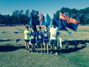 This past weekend, on Saturday, December 13, five runners from Beaufort competed in the USATF National Junior Olympic Cross Country Championships in Myrtle Beach. The runners, as pictured from left, are: Nash Mills, Lady's Island Elementary School; Jack Carter Worrell, Beaufort Academy; Cameron Keenan, Beaufort Academy; Nathaniel Keenan, Beaufort Academy; Mitchell Russell, Beaufort Academy. These runners were coached by Connie Ambrose and Howard Mills.