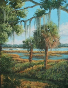 Arts- Paul Frederick Painting- Palms along the edge of the bluff