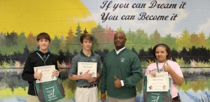 """Pictured with Mr. Murphy, winners for each small school were, from left: Sam Derrick (FA), Matt Campbell (ACT) and Kaleiah Lawson (MCS).  Not pictured, Mattie Jo Thomas (IS).  We congratulate all our nominated students, who were invited, along with their parents, to our monthly """"Muffins with Murphy celebration."""