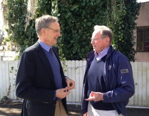 George Stevens, President/CEO of Coastal Community Foundation (L), and Jim Marks, Beaufort Listening Network member and Coastal Community Foundation Board Member (R), talk after the 2/26 Beaufort Listening Network Meeting.
