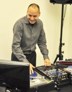 """TCL business management student Brent Hoffman shows off his DJ skills as part of his """"Perfect Pitch."""""""