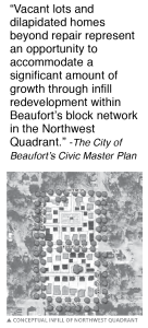 """The city's redevelopment plan for several key Northwest Quadrant city blocks as depicted on page 109 of Beaufort's 2014 Civic Master Plan. The darker proposed buildings would be new """"in-filled"""" buildings. The plan would roughly triple the density of the neighborhood."""