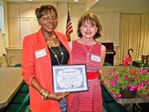 The Beaufort chapter of AAUW recognizes outgoing president, Dr. Diana F. Steele, at its May meeting.