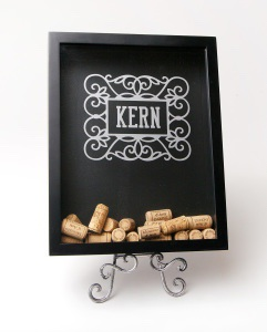 From wooden wedding invitations to etched wine glasses, Exclusively Yours has something for your big day or any day! Pictured above is a personalized wine cork shadow box display.
