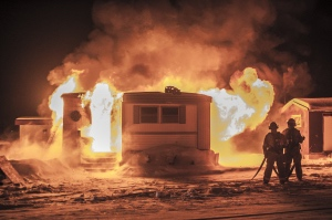 Burton District firefighters responded to a similar mobile home fire that occured earlier this month, injuring four.