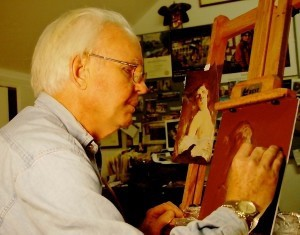 Mike McNally learns the proper old master's techniques using pastel during lessons in Linda Shephard's studio.