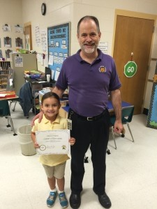 Student of the Month Alanna O'Quinn with principal, Charles DelForge.