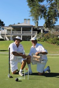 Championship match finalists (left to right) Macey White (Chesapeake Croquet Club) and Tournament Champion Harvey Geiger (Wexford Croquet Club).