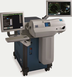 This LenSx femtosecond laser system has laser data entry at left, a joy stick control and an OCT screen at right, which offers the surgeon all-important guidance during laser-assisted cataract procedures. (Images: Alcon)