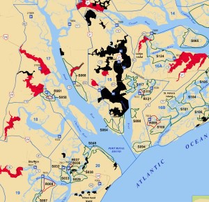 This South Carolina Department of Natural Resources map shows the closed shellfish beds around Port Royal Island in the black shading, and the restricted beds elsewhere in the county in the red shading.