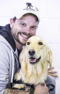 Brock Strickland, aged 31 and former Army medic who served in Iraq is pictured with his dog, Tannen. Brock suffers from Post Traumatic Stress Disorder as well as suffering from a traumatic brain injury that keeps him in constant pain. Tannen is working with him to wake him from recurring nightmares and to feel safe in public again.