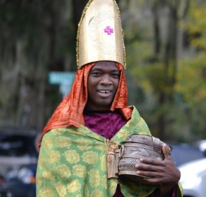 HM2 Oyekade Dada dressed as one of the three wise men in the 2016 Beaufort Christmas Parade. Photo courtesy of Michael Fleischbein of the Sea Island Rotary Club.