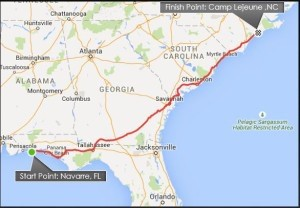 Route of the 770 mile ruck march.