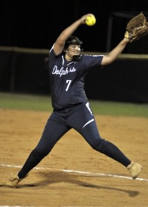 Battery Creek pitcher Alexis Ortiz gave up only four runs on six hits against Bluffton High School. Photo by Bob Sofaly.