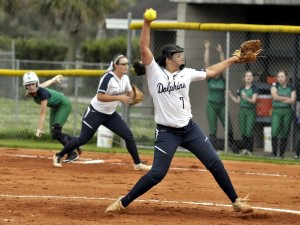 With a runner on first base, BCHS pitcher Alexis Ortiz, cranks up another fastball.