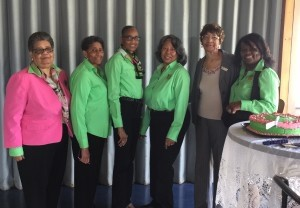 Pictured are charter members left to right: Emma Campbell, Romona Gaither, Ida Campbell, Andrea Allen, Barbara Marshel, and chapter president Alvesta Robertson.