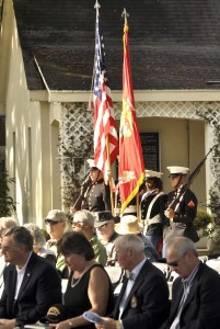 The official United States Marine Corps Color Guard Posts the Colors to begin the Vietnam War Commemoration.