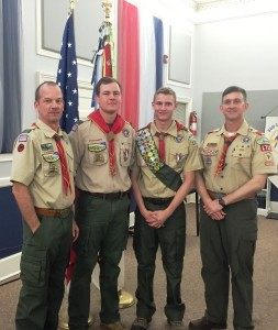 From left: Assistant Scout Master Ray Lentz, Brian Lentz, with new Eagle Scout David Lentz, and Scoutmaster, Mark Henderson. Photo by Faye Dagley.