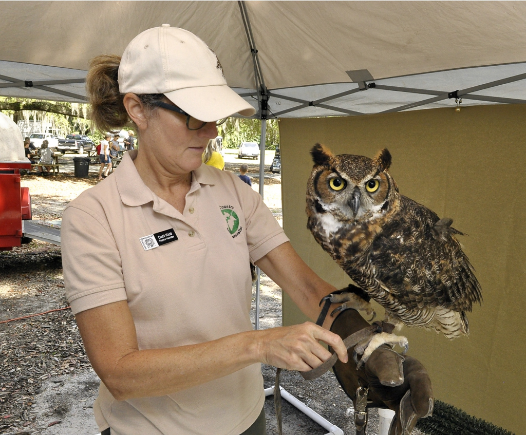 """Debi Kid, a volunteer with Lowcountry Raptors, holds General Beauregard, a large Great Horned Owl. Kid said Gen. Beauregard was a """"ham"""" and seemed to like having his picture taken."""