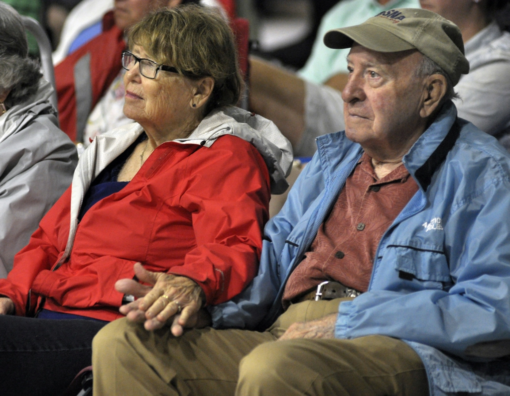 Maureen Cooley, left, and close friend Jerry Hyde listen to some of the country music by Angela Easterling and The Beguilers on Saturday at The Shed in Port Royal.