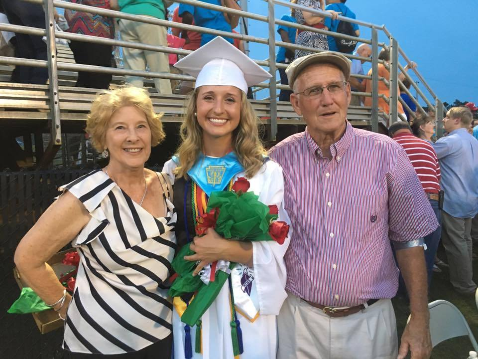 Jacy Oswald, granddaughter of Johnny (right) and Joan Brewer (left) of Lands End on St. Helena, graduated from Barnwell High School. Jacy will be be attending Clemson University in the fall.