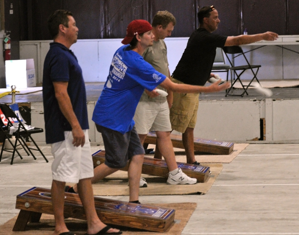 Some of the teams participating in the annual Beaufort Water Festival cornhole tournament Saturday afternoon at The Shed in Port Royal are shown here.