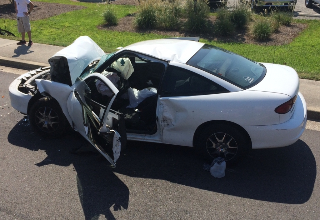 A car accident in Burton resulted in a woman driver trapped inside her car. Photo courtesy of Burton Fire Department.