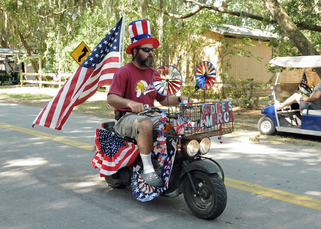 Scott Ulmer gets his red, white and blue on at the Lands End parade on St. Helena Island.