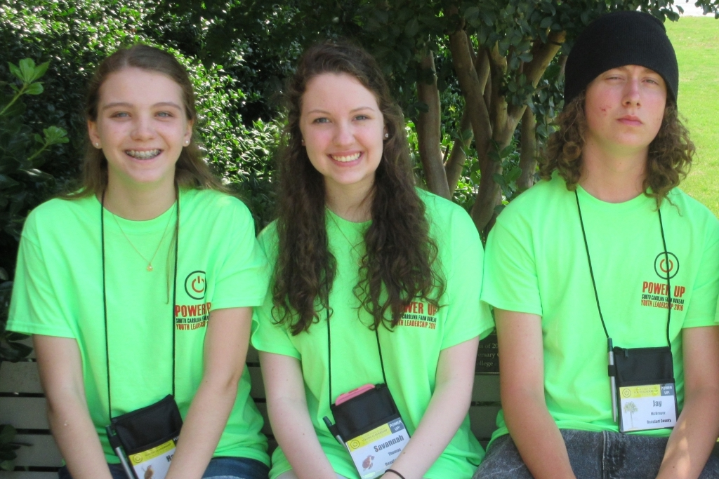 From left, Beaufort County students Halli Noid, Savannah Thomas and Jay McBrayer were among 47 rising high school juniors and seniors from across South Carolina who recently participated in the South Carolina Farm Bureau Federation's 2016 Youth Leadership Conference in Newberry. The conference, held on the Campus of Newberry College, allowed students to gain valuable leadership skills, a better understanding of SC agriculture and of the South Carolina legislative process.