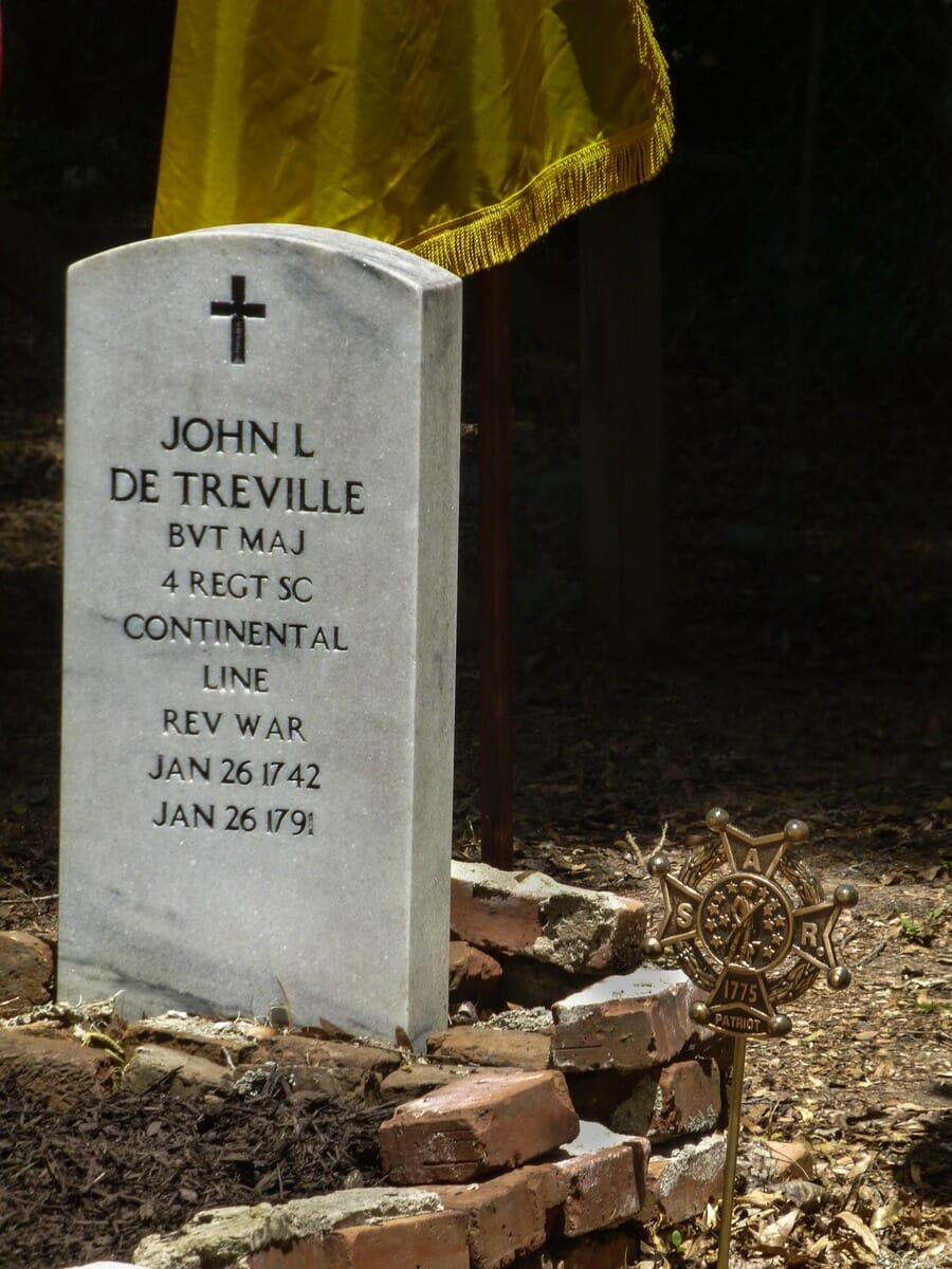 This marker commemorates Maj. John LaBoularderie de Treville.
