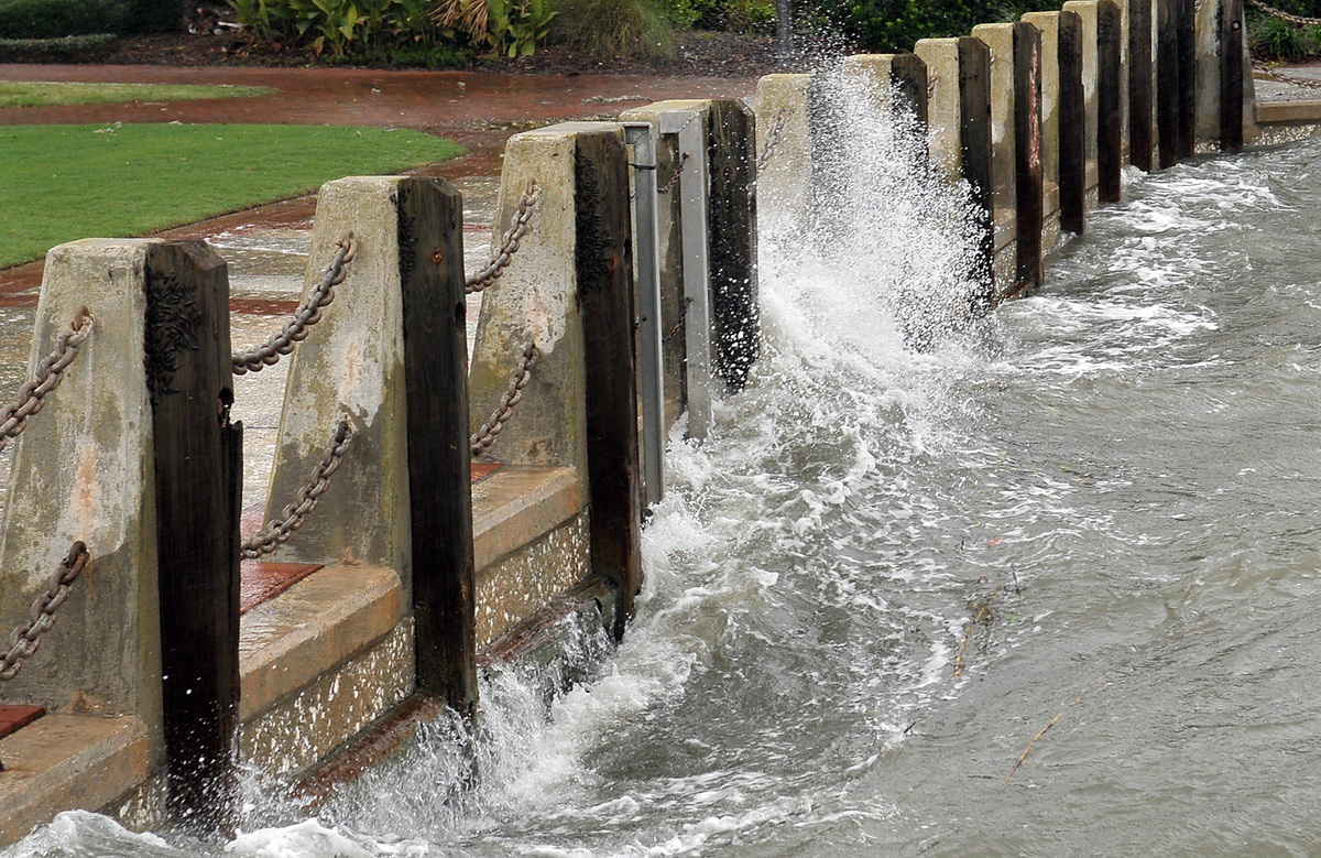 Water driven by Tropical Storm Hermine on Sept. 2 crashes into the seawall at Henry C. Chambers Waterfront Park. Photo by Bob Sofaly.